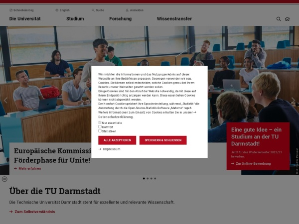 Screenshot of www.tu-darmstadt.de