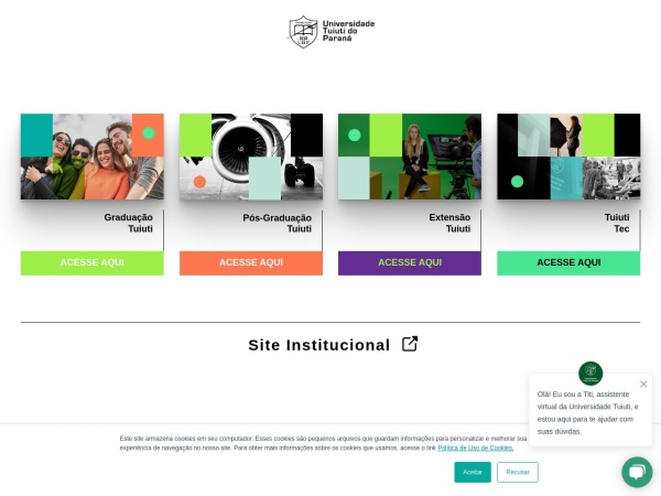 Screenshot of www.tuiuti.edu.br