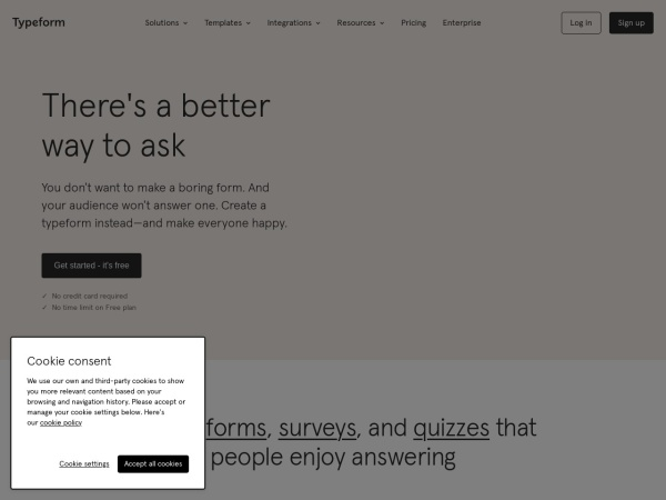 Screenshot of www.typeform.com