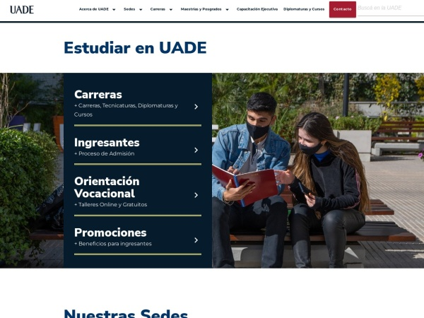 Screenshot of www.uade.edu.ar