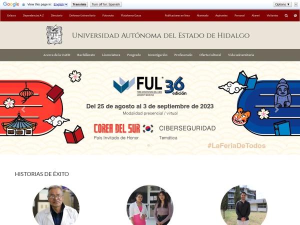 Screenshot of www.uaeh.edu.mx