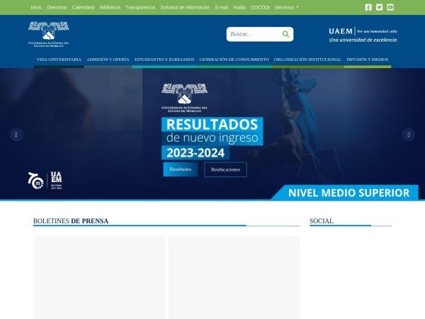 Screenshot of www.uaem.mx