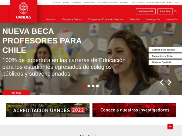 Screenshot of www.uandes.cl