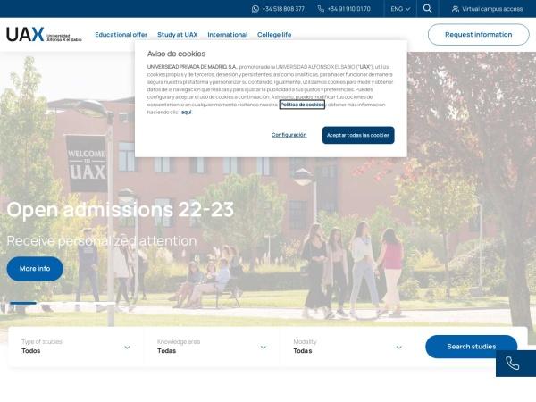 Screenshot of www.uax.com