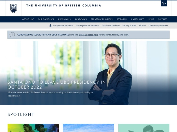 Screenshot of www.ubc.ca
