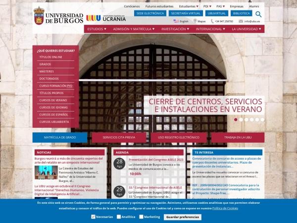 Screenshot of www.ubu.es