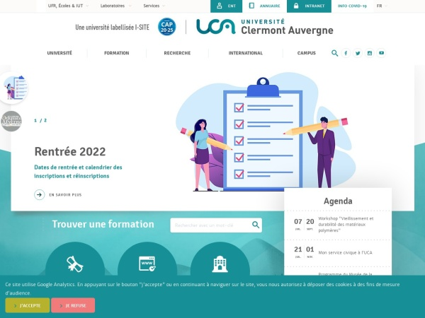 Screenshot of www.uca.fr