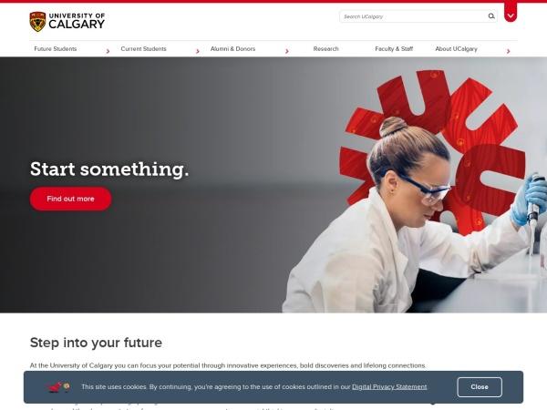 Screenshot of www.ucalgary.ca