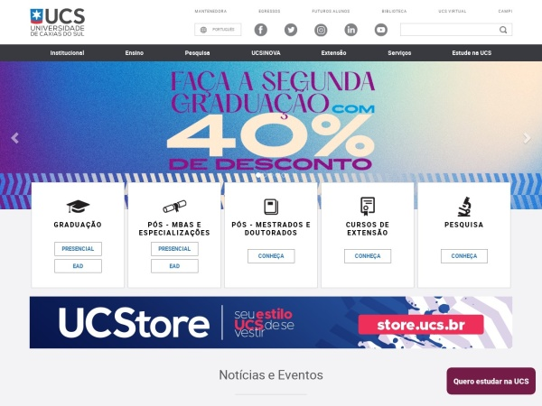 Screenshot of www.ucs.br
