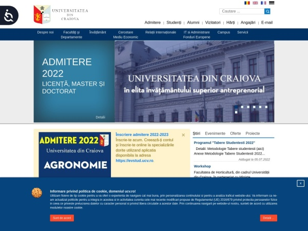 Screenshot of www.ucv.ro