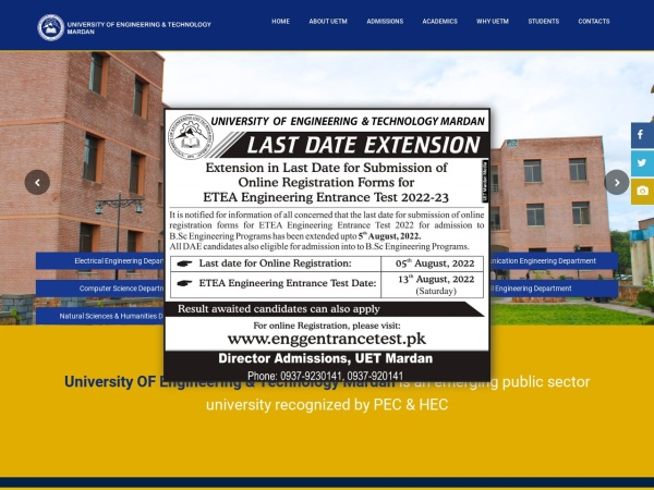 Screenshot of www.uetmardan.edu.pk