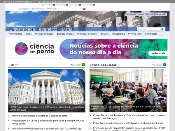 Screenshot of www.ufpr.br