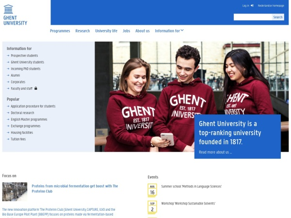 Screenshot of www.ugent.be