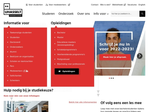 Screenshot of www.uhasselt.be
