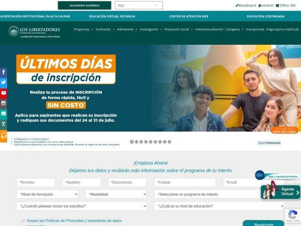 Captura de pantalla de www.ulibertadores.edu.co