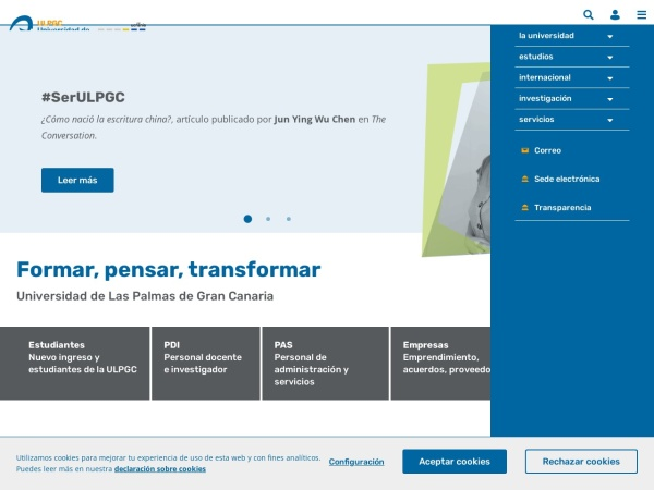 Screenshot of www.ulpgc.es