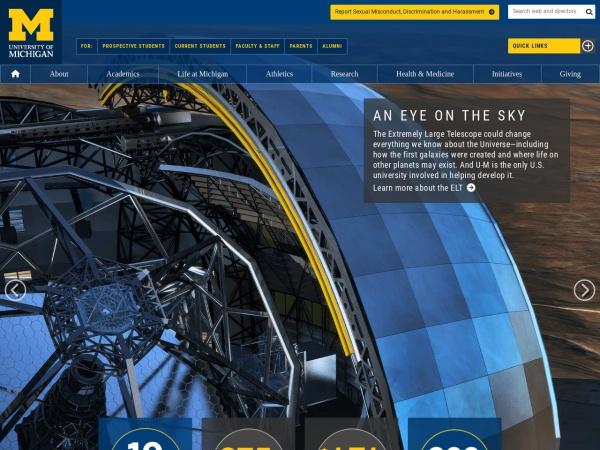 Screenshot of www.umich.edu