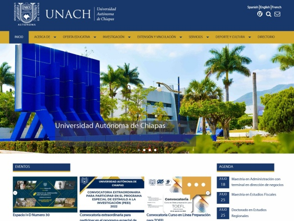 Screenshot of www.unach.mx