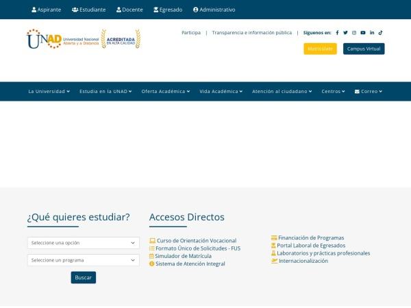 Screenshot of www.unad.edu.co