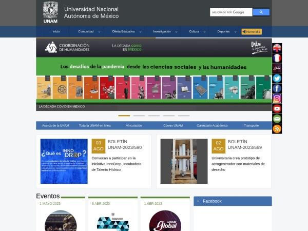 Screenshot of www.unam.mx