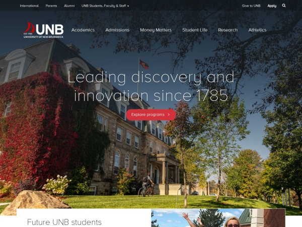 Screenshot of www.unb.ca