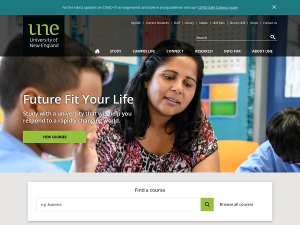 Screenshot of www.une.edu.au