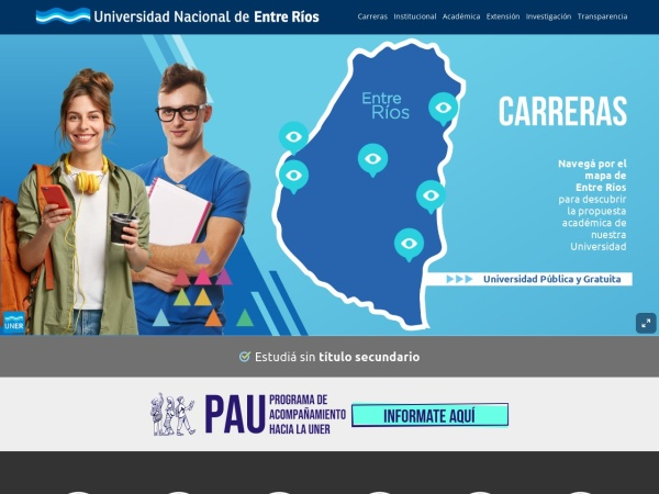Screenshot of www.uner.edu.ar