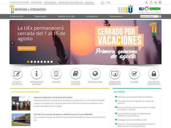 Screenshot of www.unex.es
