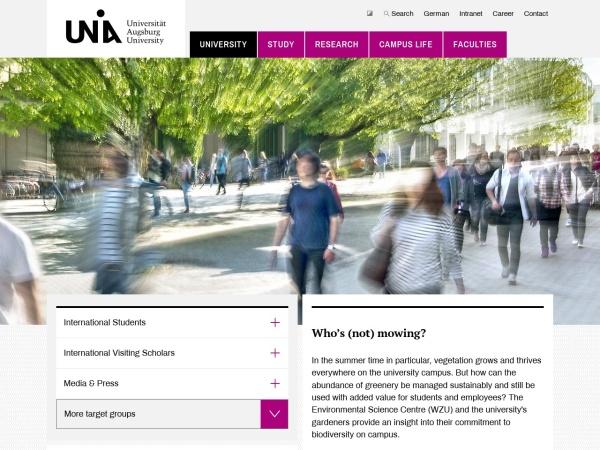 Screenshot of www.uni-augsburg.de