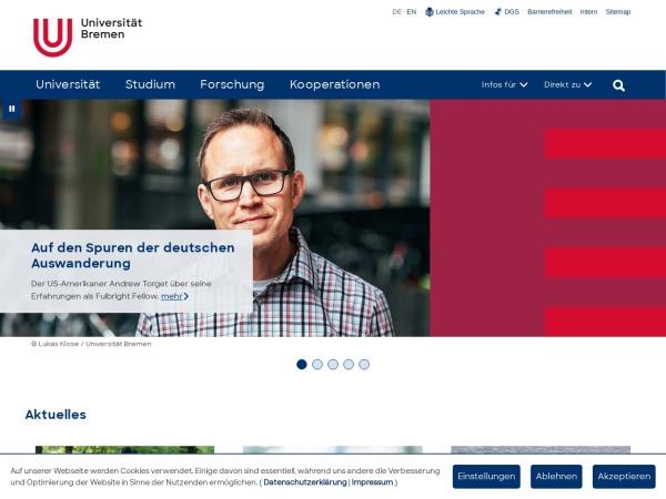 Screenshot of www.uni-bremen.de