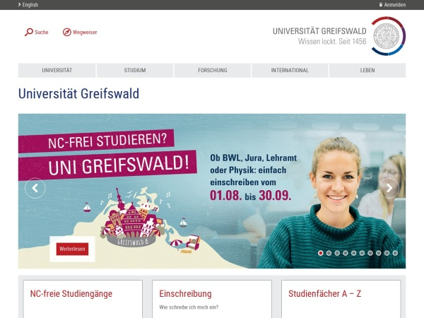 Screenshot of www.uni-greifswald.de