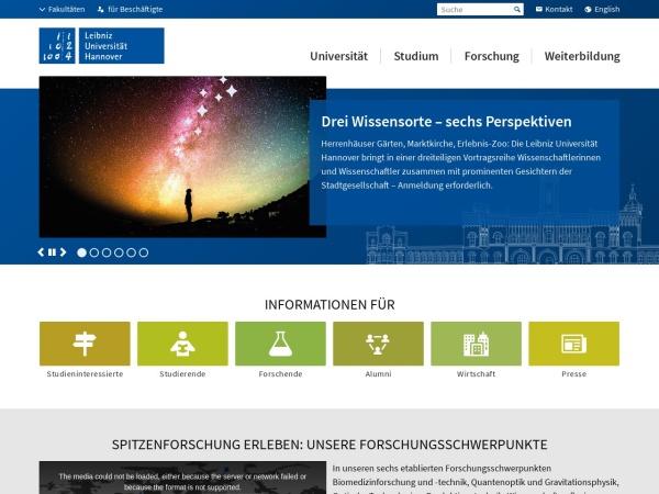 Screenshot of www.uni-hannover.de