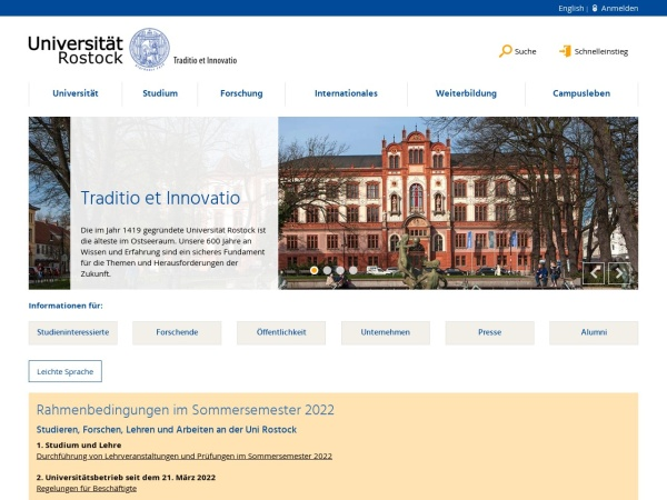Screenshot of www.uni-rostock.de