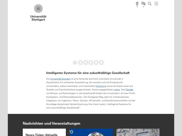 Screenshot of www.uni-stuttgart.de
