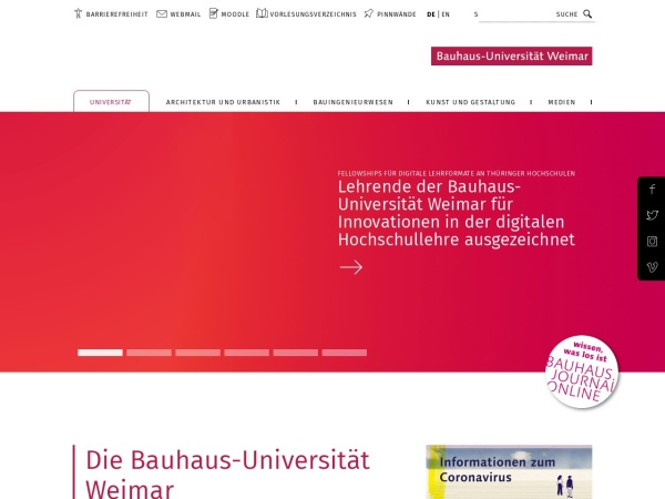 Screenshot of www.uni-weimar.de