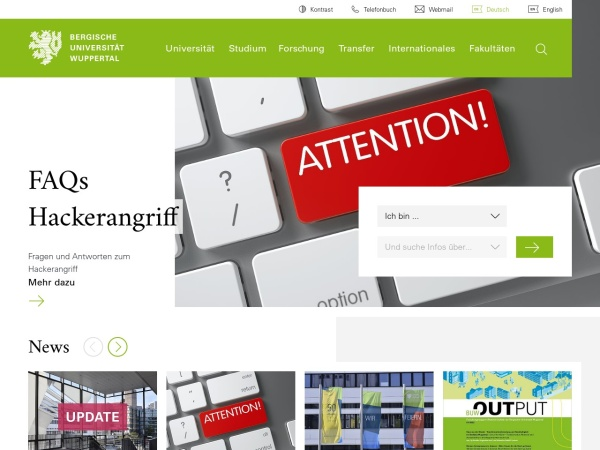 Screenshot of www.uni-wuppertal.de