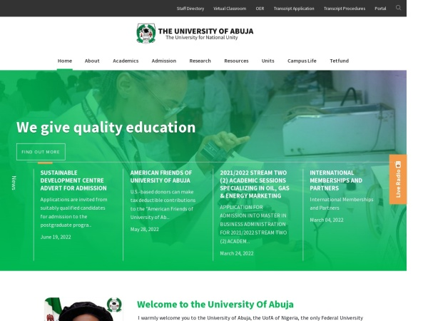 Screenshot of www.uniabuja.edu.ng