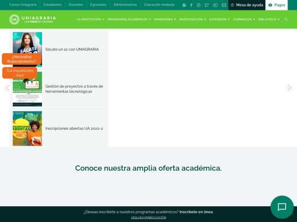 Screenshot of www.uniagraria.edu.co