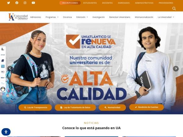 Screenshot of www.uniatlantico.edu.co
