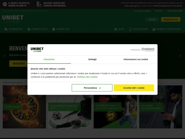 Screenshot of www.unibet.it