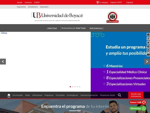 Screenshot of www.uniboyaca.edu.co