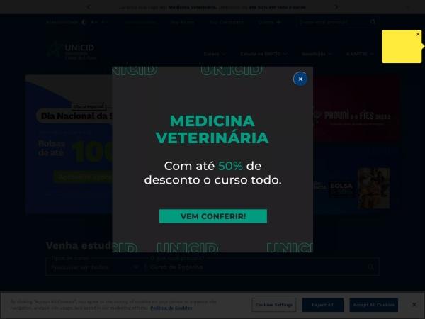 Screenshot of www.unicid.edu.br