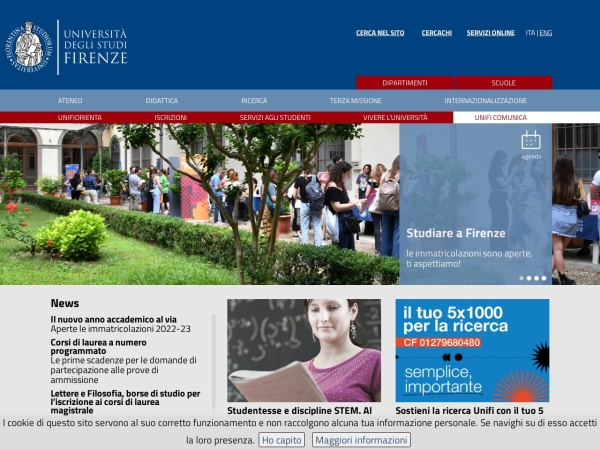 Screenshot of www.unifi.it