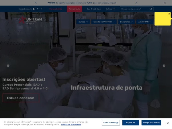 Screenshot of www.unifran.br