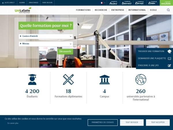Screenshot of www.unilasalle.fr