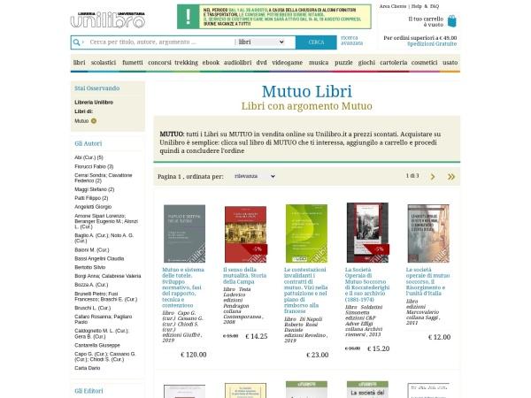 Screenshot of www.unilibro.it
