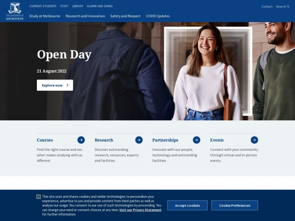 Screenshot of www.unimelb.edu.au