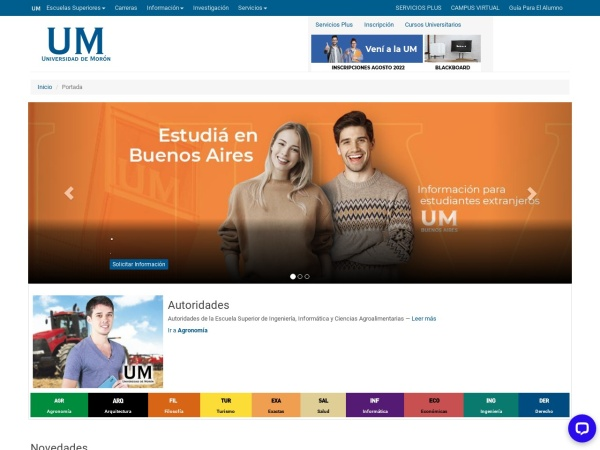 Screenshot of www.unimoron.edu.ar