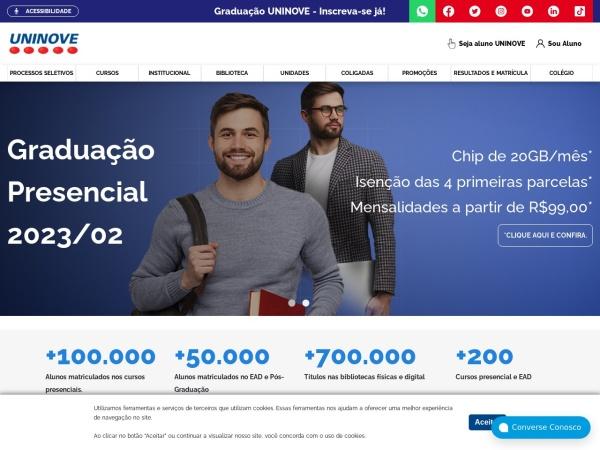 Screenshot of www.uninove.br