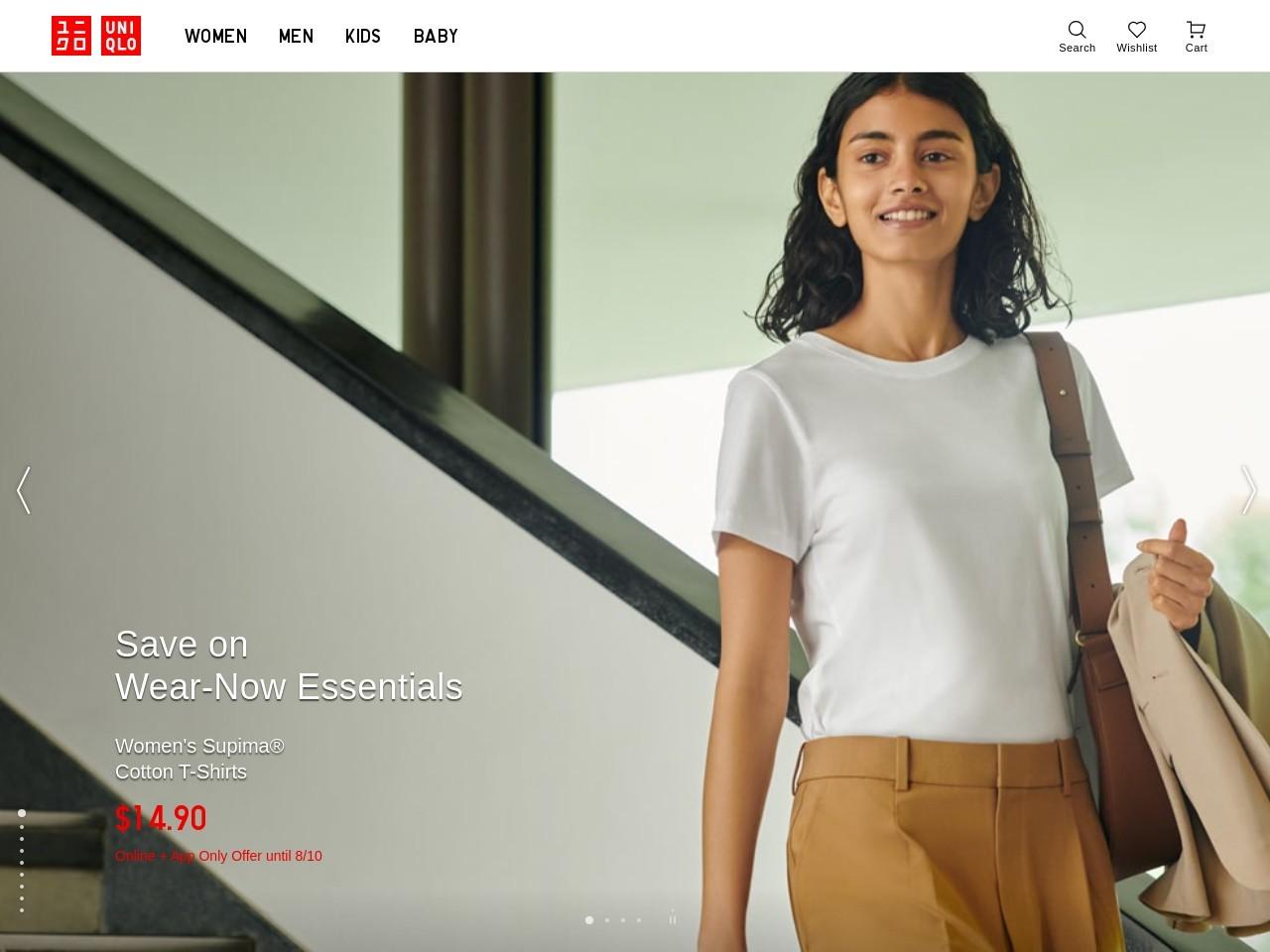 Captura de pantalla de www.uniqlo.com